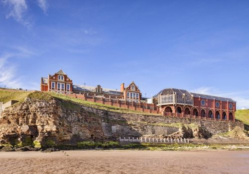 The Pavilion, Whitby, overlooking North Beach, North Yorkshire, England, UK